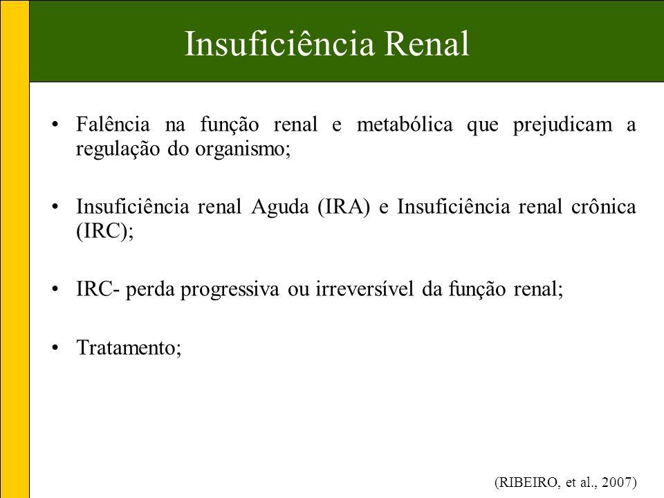 Insuficiência Renal Falência na função renal e metabólica que prejudicam a regulação do organismo;