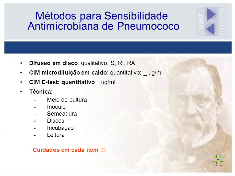 Métodos para Sensibilidade Antimicrobiana de Pneumococo