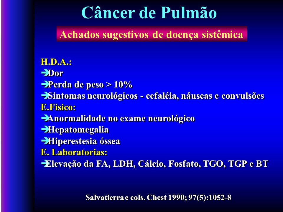 Câncer de Pulmão Achados sugestivos de doença sistêmica H.D.A.: Dor