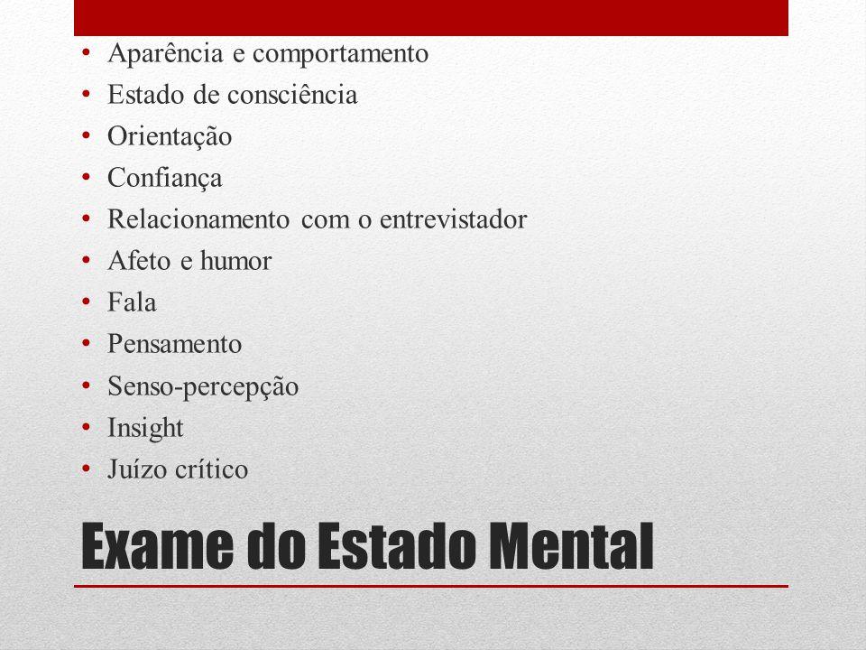 Exame do Estado Mental Aparência e comportamento Estado de consciência