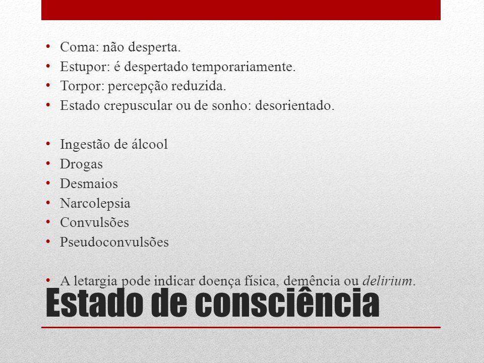 Estado de consciência Coma: não desperta.