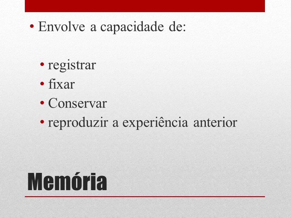 Memória Envolve a capacidade de: registrar fixar Conservar