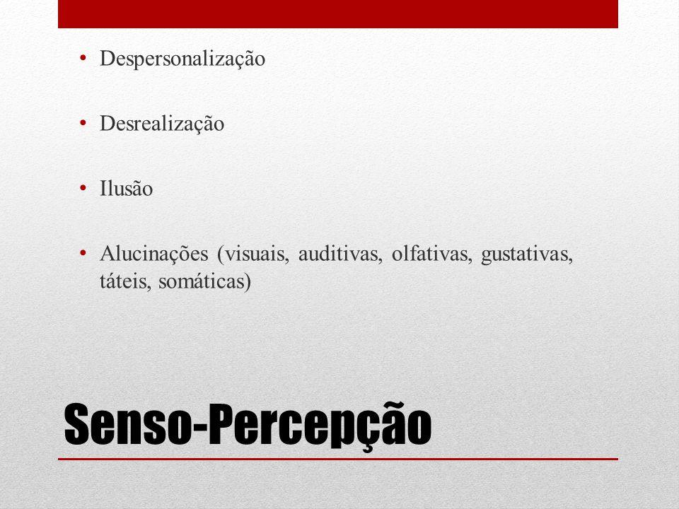 Senso-Percepção Despersonalização Desrealização Ilusão