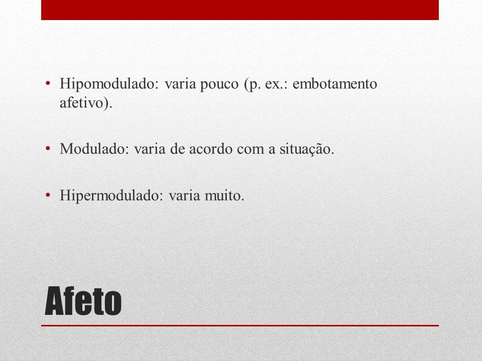 Afeto Hipomodulado: varia pouco (p. ex.: embotamento afetivo).