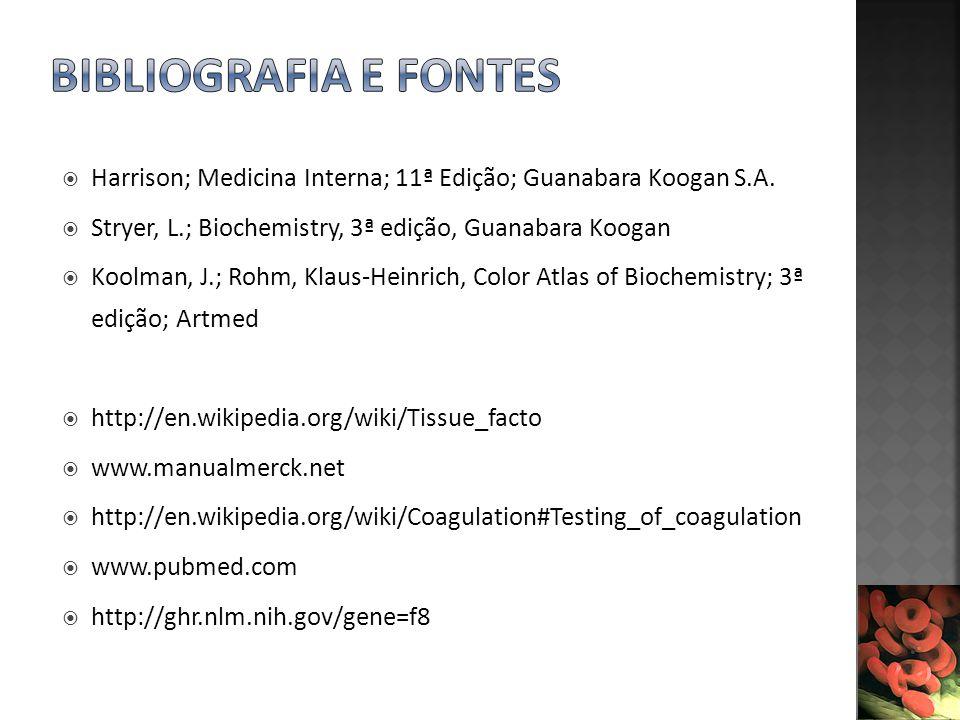 Bibliografia e fontes Harrison; Medicina Interna; 11ª Edição; Guanabara Koogan S.A. Stryer, L.; Biochemistry, 3ª edição, Guanabara Koogan.
