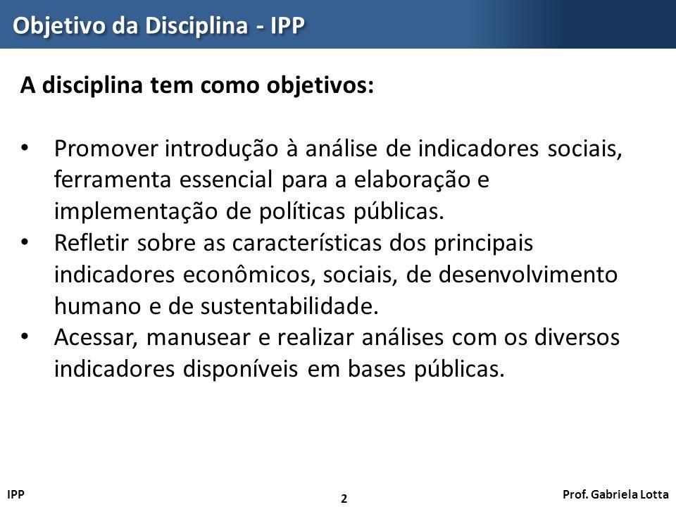 Objetivo da Disciplina - IPP