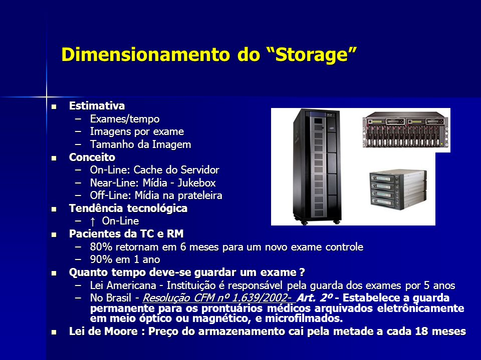 Dimensionamento do Storage