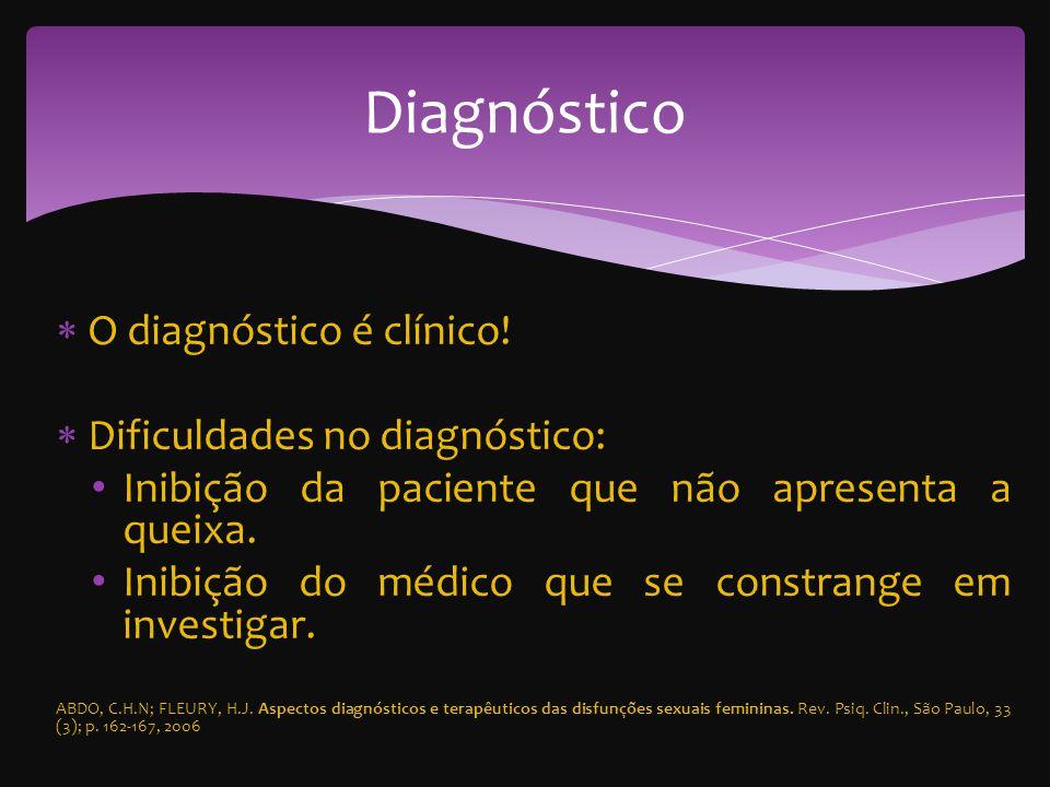 Diagnóstico O diagnóstico é clínico! Dificuldades no diagnóstico: