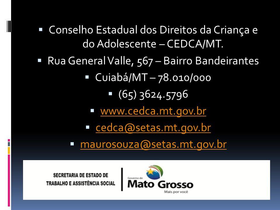 Conselho Estadual dos Direitos da Criança e do Adolescente – CEDCA/MT.