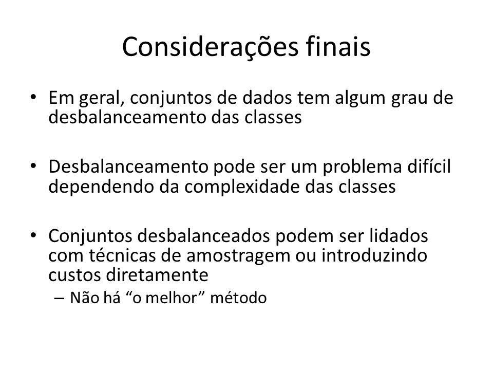 Considerações finais Em geral, conjuntos de dados tem algum grau de desbalanceamento das classes.