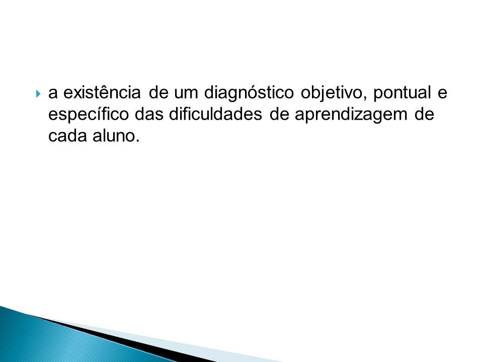 a existência de um diagnóstico objetivo, pontual e específico das dificuldades de aprendizagem de cada aluno.