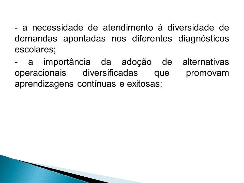 - a necessidade de atendimento à diversidade de demandas apontadas nos diferentes diagnósticos escolares;