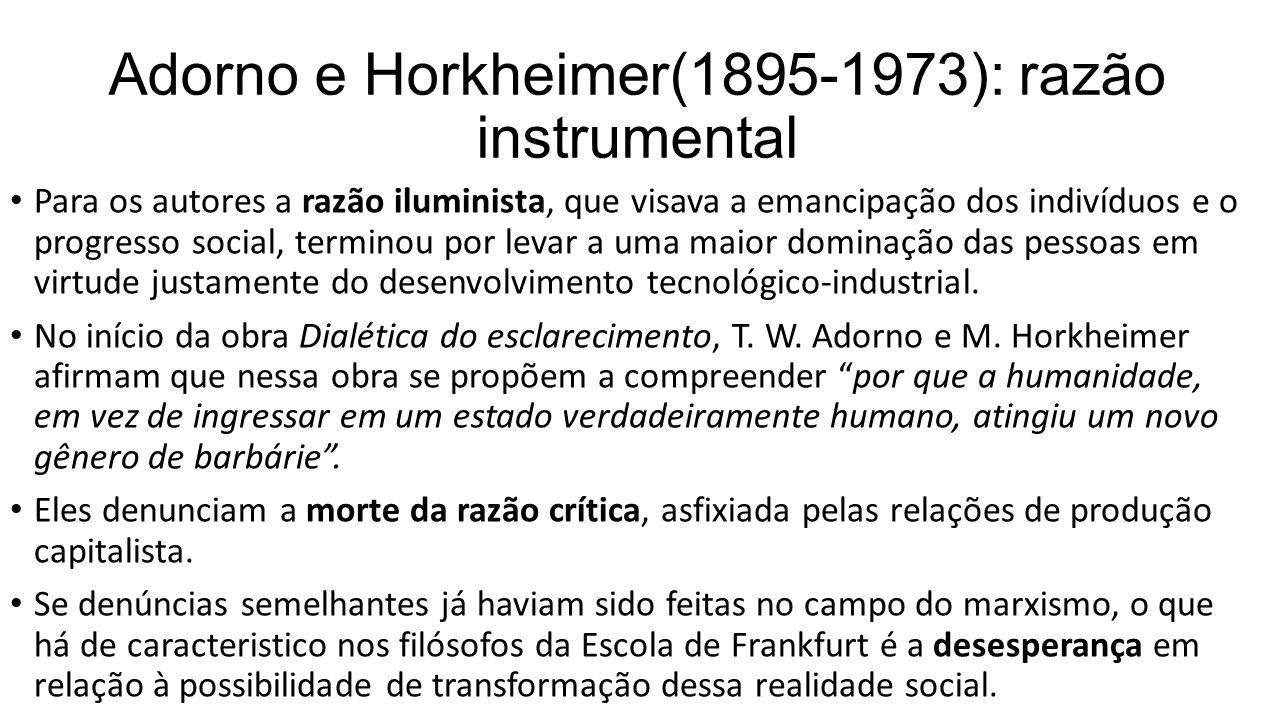 Adorno e Horkheimer(1895-1973): razão instrumental