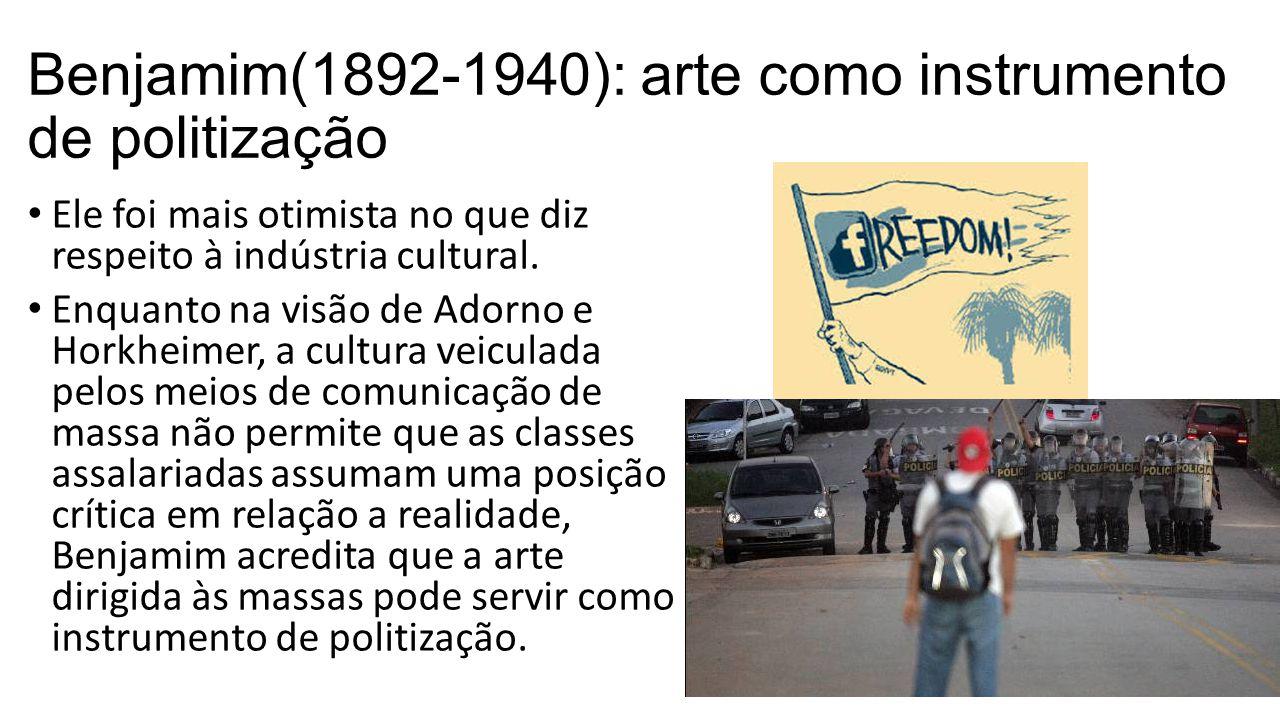 Benjamim(1892-1940): arte como instrumento de politização