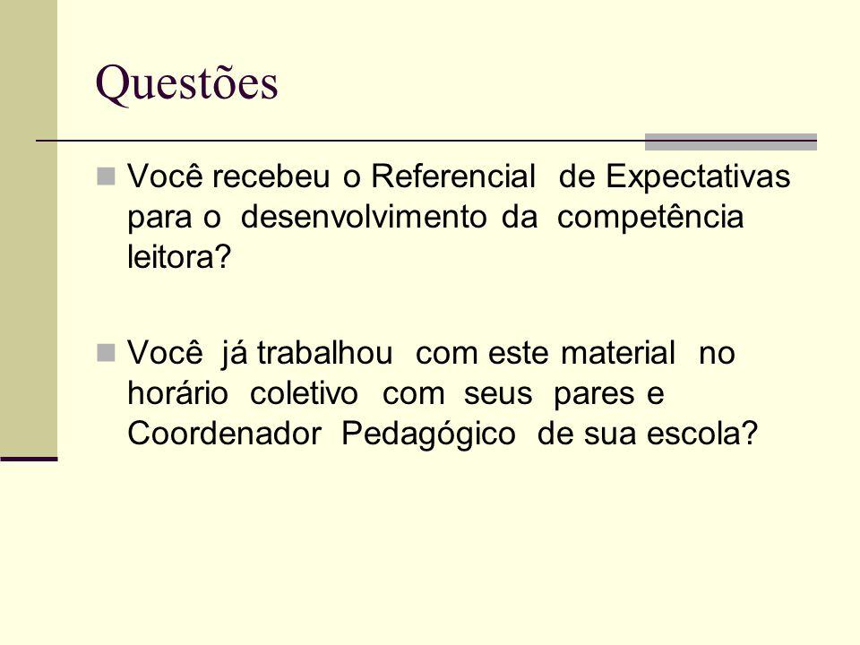 Questões Você recebeu o Referencial de Expectativas para o desenvolvimento da competência leitora