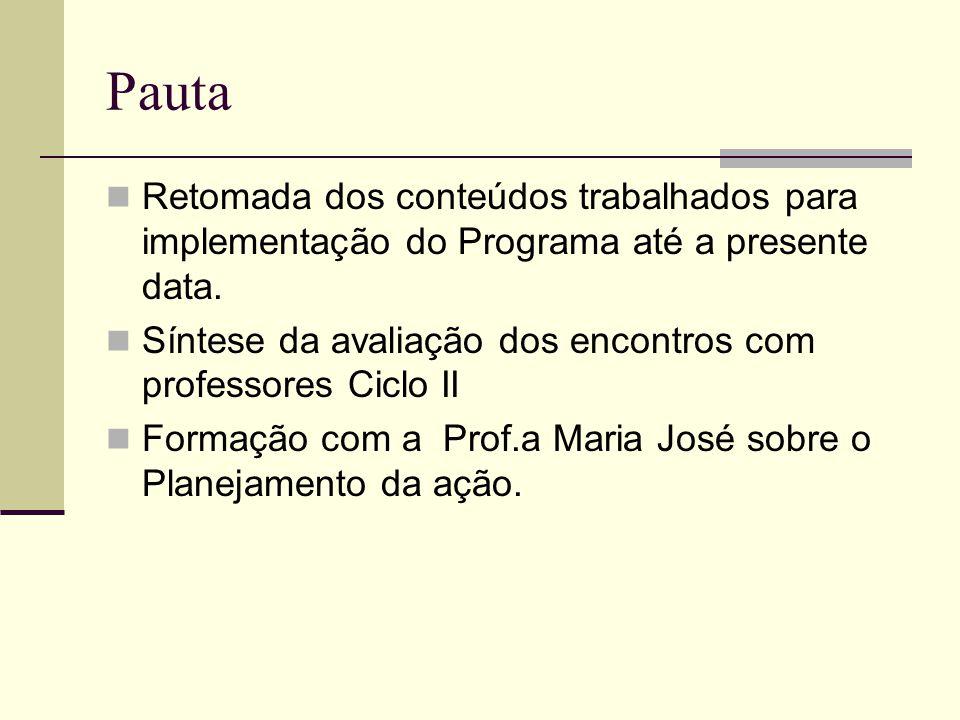 Pauta Retomada dos conteúdos trabalhados para implementação do Programa até a presente data.