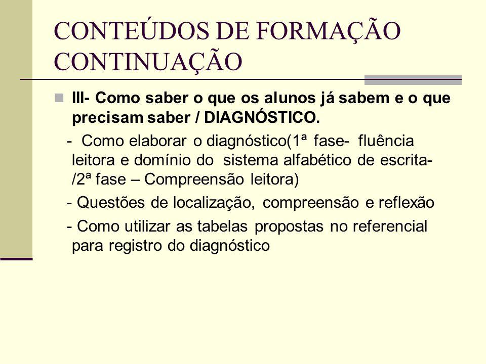 CONTEÚDOS DE FORMAÇÃO CONTINUAÇÃO