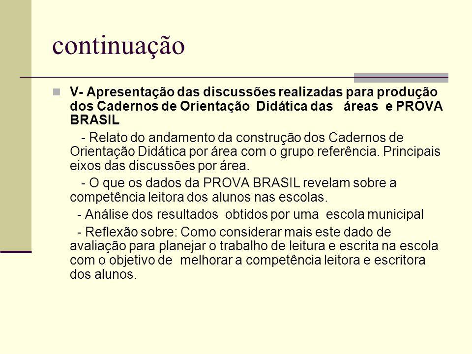 continuação V- Apresentação das discussões realizadas para produção dos Cadernos de Orientação Didática das áreas e PROVA BRASIL.
