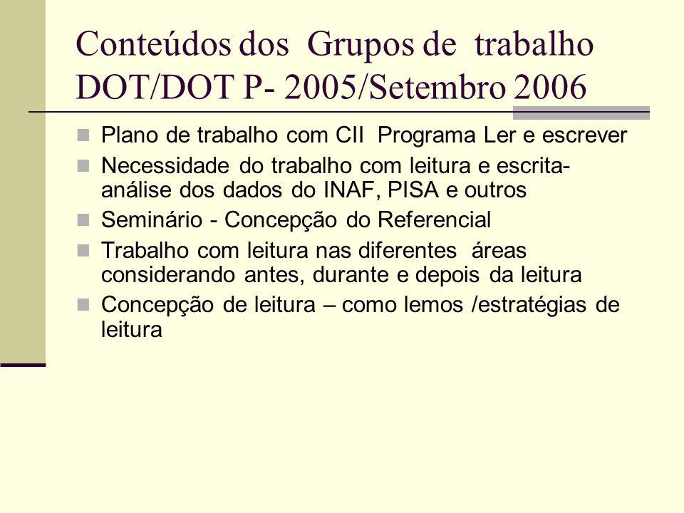 Conteúdos dos Grupos de trabalho DOT/DOT P- 2005/Setembro 2006
