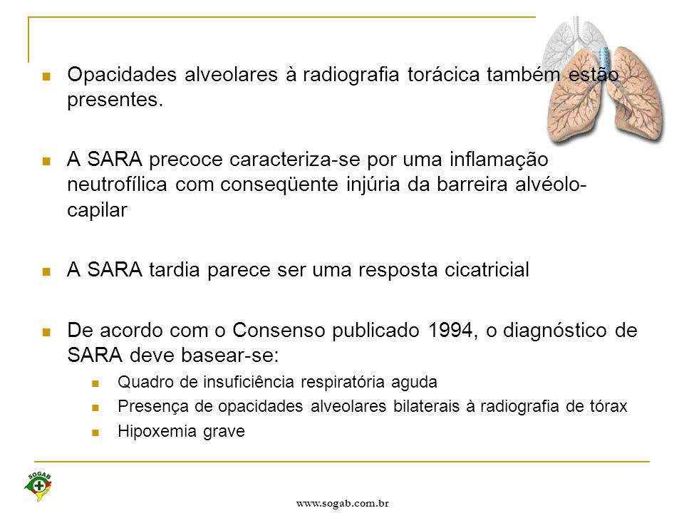 Opacidades alveolares à radiografia torácica também estão presentes.