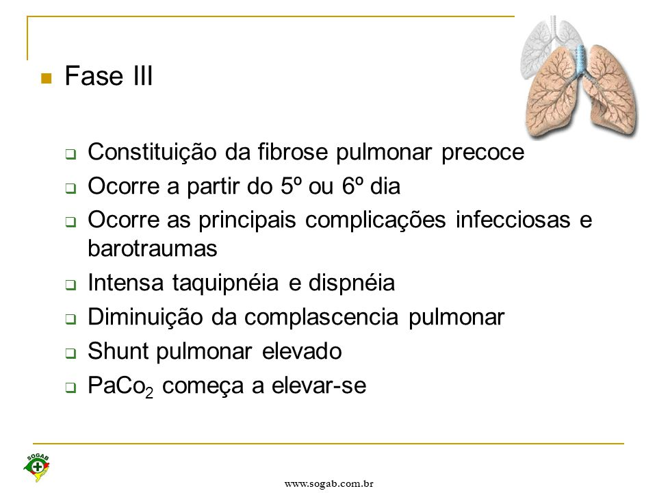 Fase III Constituição da fibrose pulmonar precoce