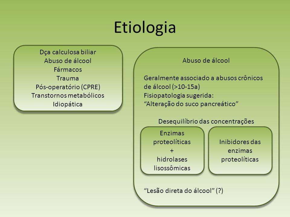 Etiologia Dça calculosa biliar Abuso de álcool Abuso de álcool