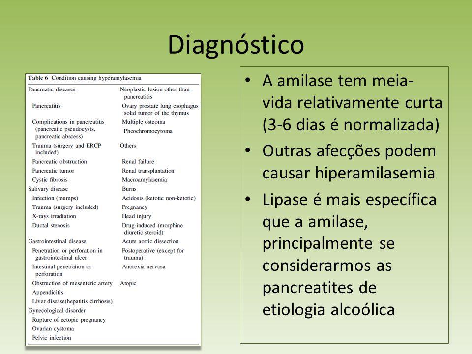 Diagnóstico A amilase tem meia-vida relativamente curta (3-6 dias é normalizada) Outras afecções podem causar hiperamilasemia.