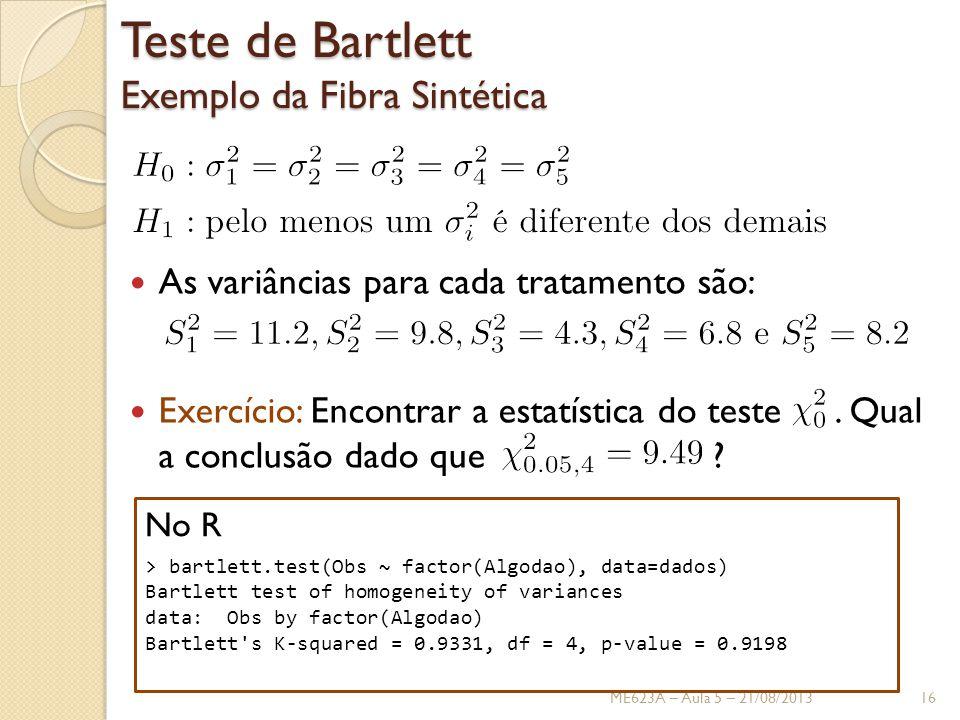 Teste de Bartlett Exemplo da Fibra Sintética
