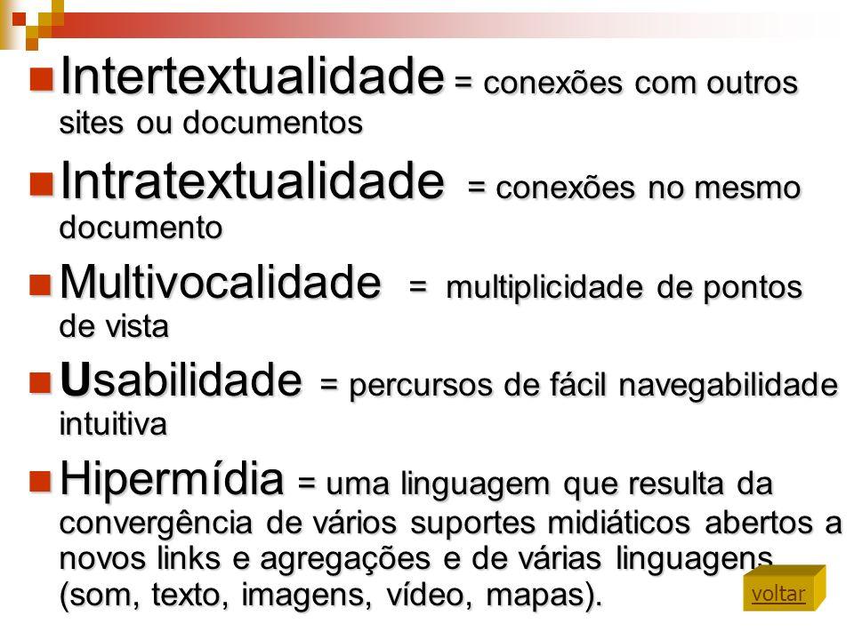 Intertextualidade = conexões com outros sites ou documentos
