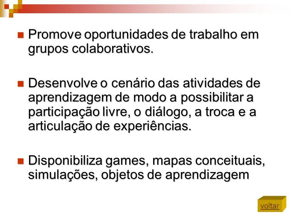 Promove oportunidades de trabalho em grupos colaborativos.