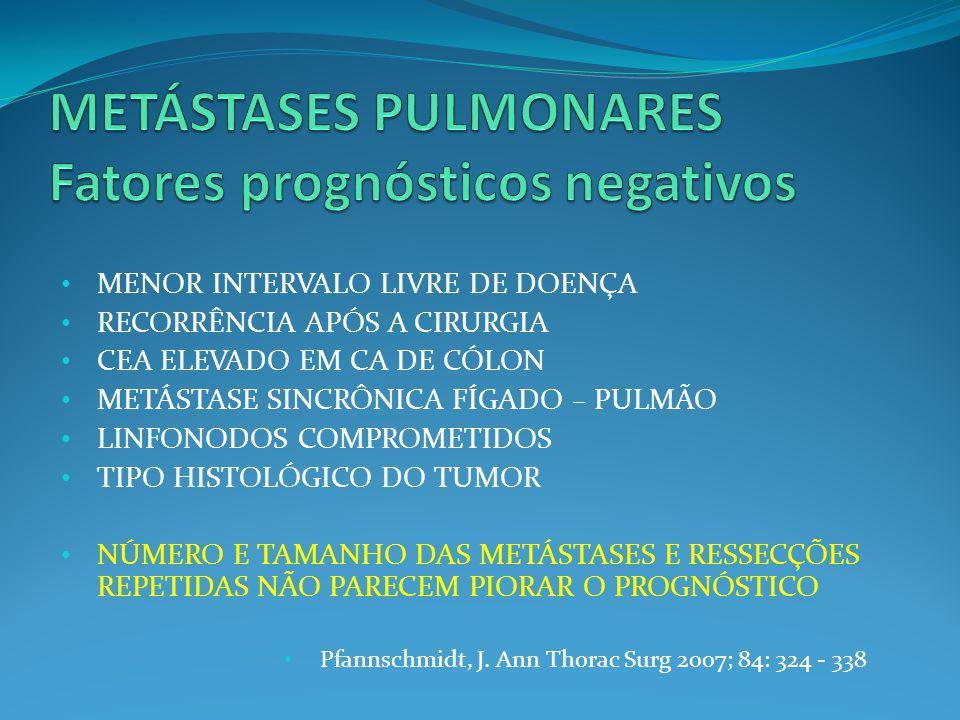 METÁSTASES PULMONARES Fatores prognósticos negativos