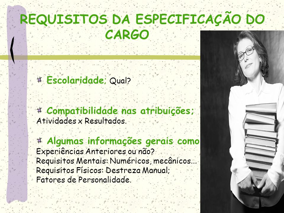 REQUISITOS DA ESPECIFICAÇÃO DO CARGO