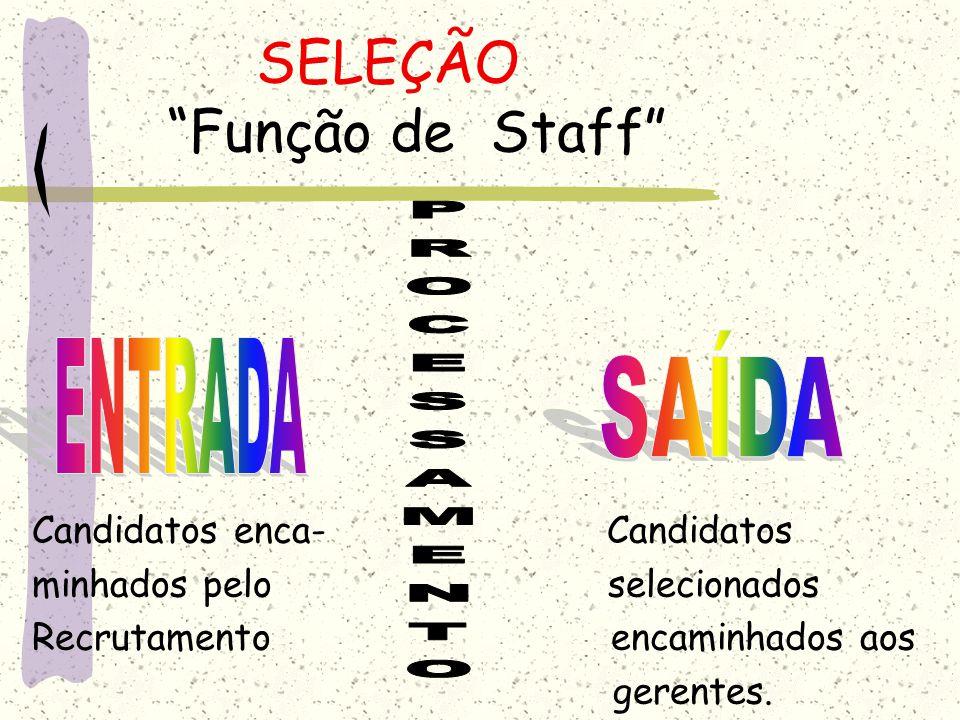 SELEÇÃO Função de Staff