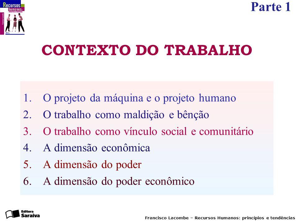 CONTEXTO DO TRABALHO O projeto da máquina e o projeto humano