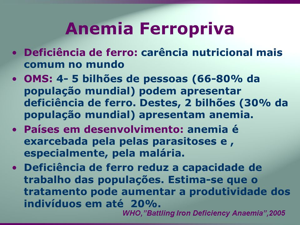 Anemia Ferropriva Deficiência de ferro: carência nutricional mais comum no mundo.