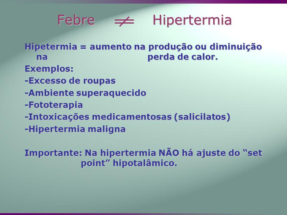 Febre Hipertermia Hipetermia = aumento na produção ou diminuição na perda de calor.