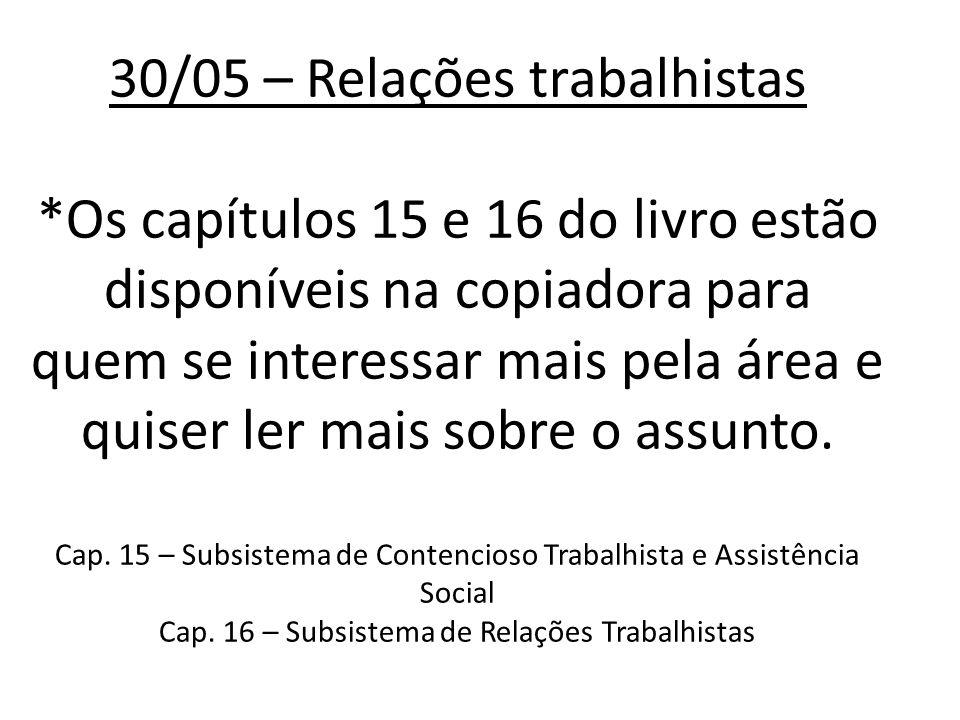 30/05 – Relações trabalhistas