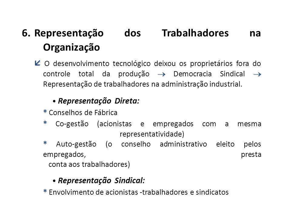 6. Representação dos Trabalhadores na Organização