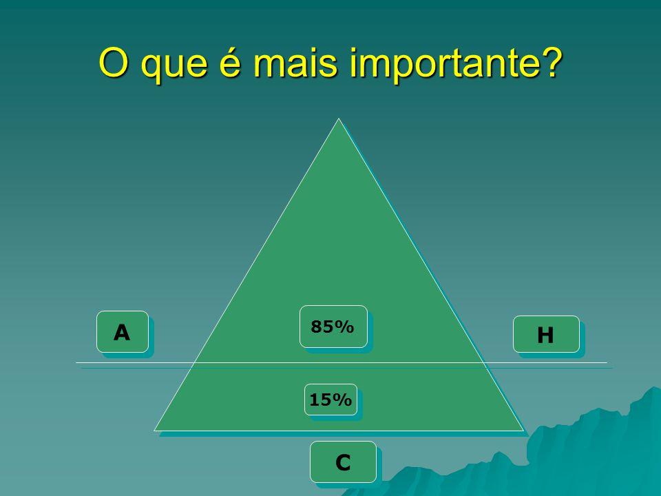 O que é mais importante 85% A H 15% C