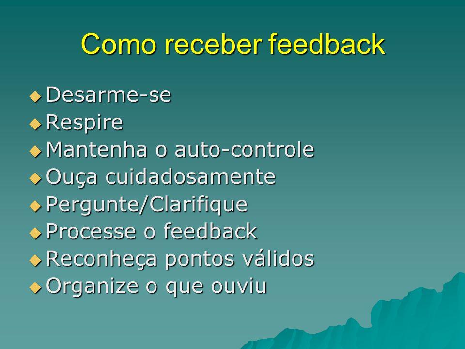 Como receber feedback Desarme-se Respire Mantenha o auto-controle