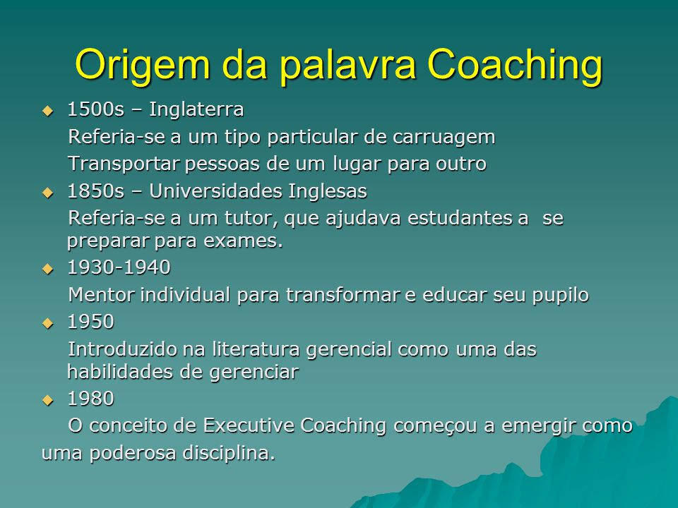 Origem da palavra Coaching