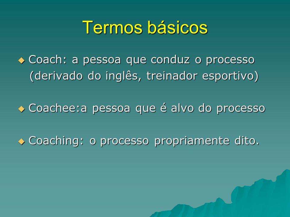 Termos básicos Coach: a pessoa que conduz o processo