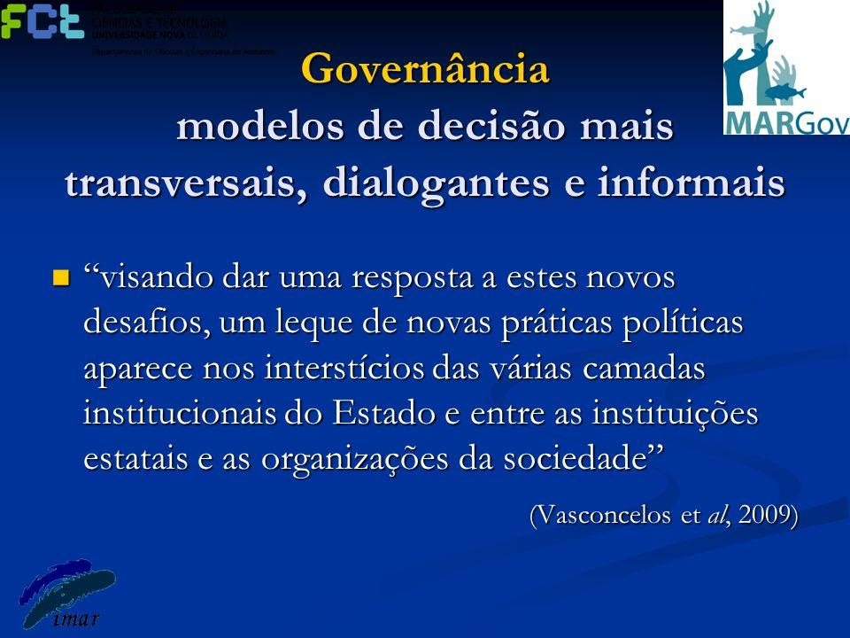 Governância modelos de decisão mais transversais, dialogantes e informais