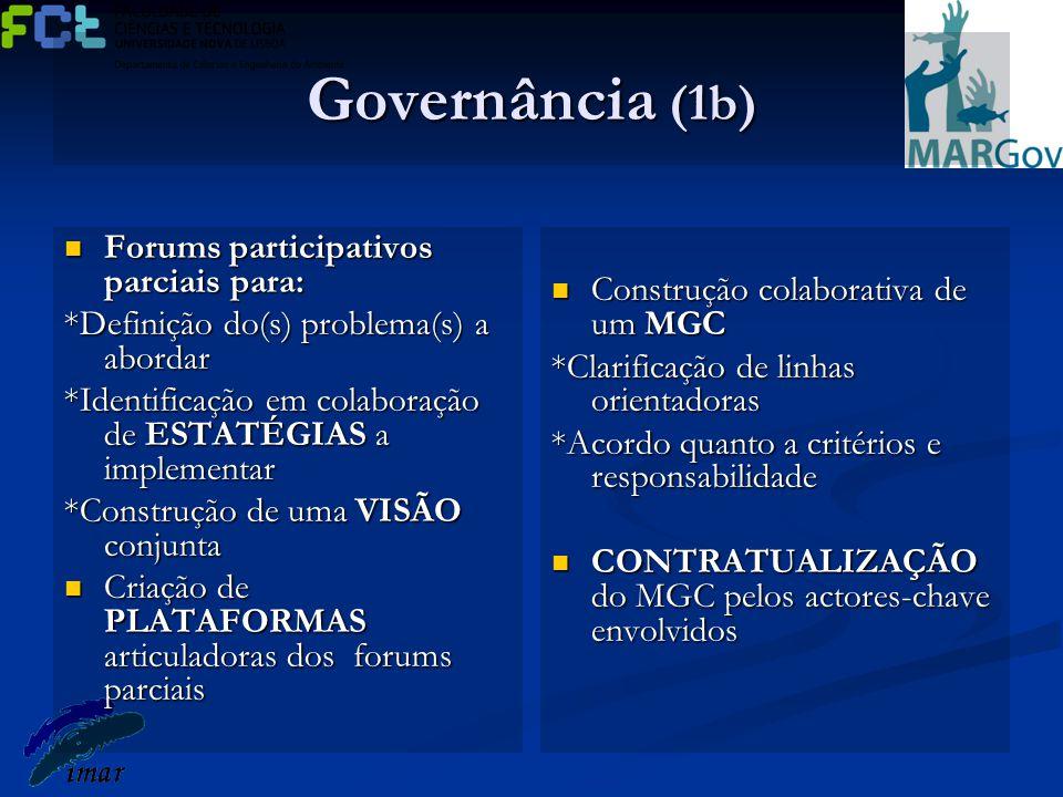 Governância (1b) Forums participativos parciais para: