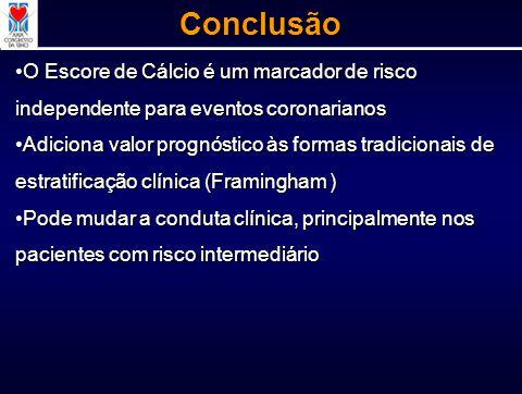 Conclusão O Escore de Cálcio é um marcador de risco independente para eventos coronarianos.