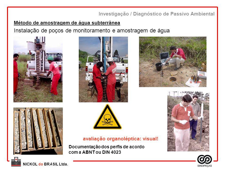 Instalação de poços de monitoramento e amostragem de água