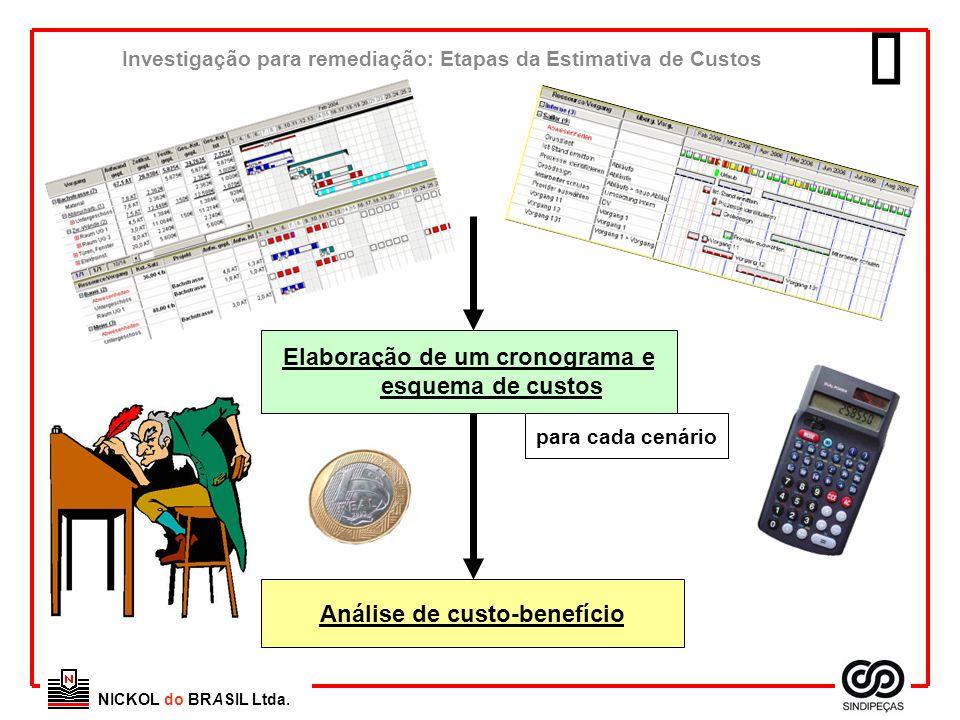  Elaboração de um cronograma e esquema de custos