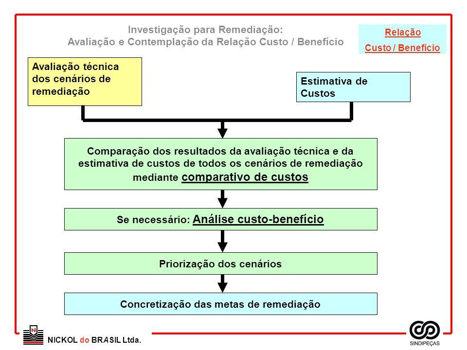 Avaliação técnica dos cenários de remediação Estimativa de Custos