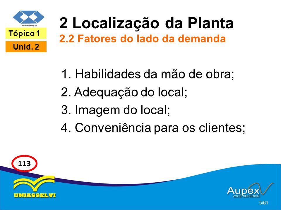 2 Localização da Planta 2.2 Fatores do lado da demanda