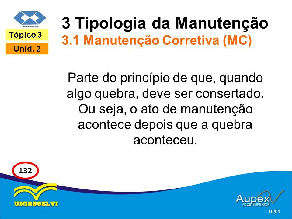 3 Tipologia da Manutenção 3.1 Manutenção Corretiva (MC)